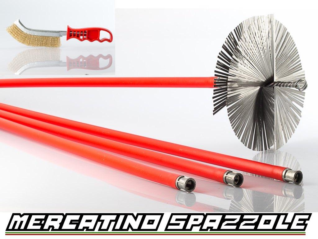 KIT Spazzacamino 4 Metri + Scovolo Camino 200mm in Acciaio Pulizia Canna Fumaria  eBay
